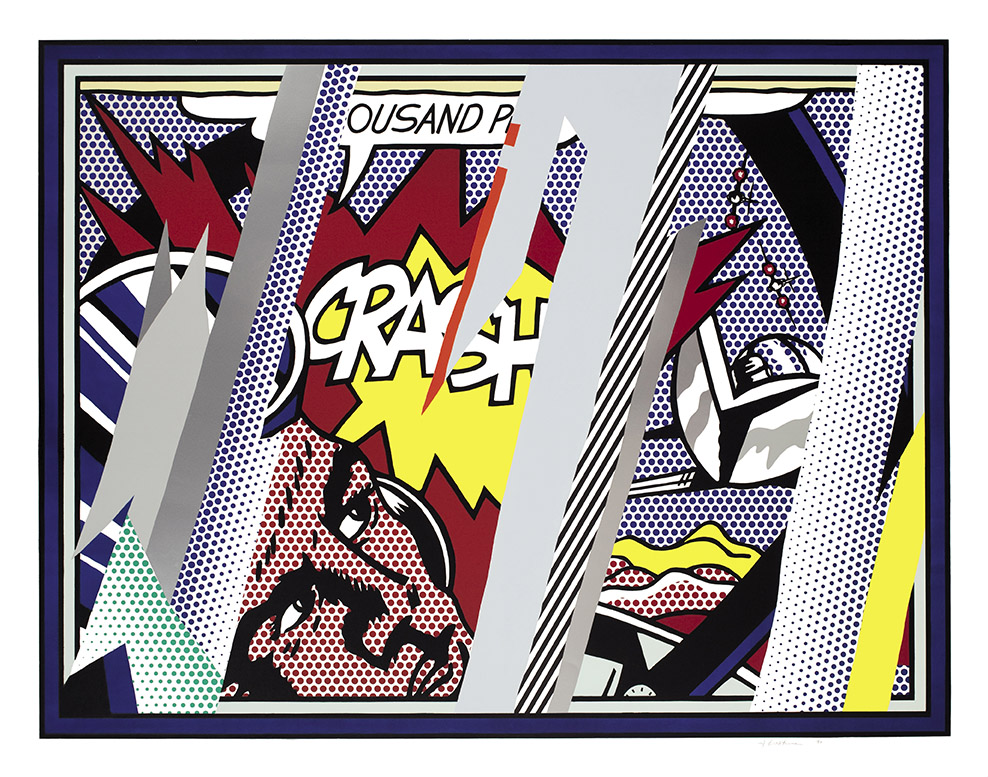 Roy Lichtenstein Reflections on Crash 1990 Litografia, serigrafia, rilievo and collage in PVC metallizzato con goffratura su carta Somerset fatta a mano 150.2 x 190.5 cm Collection Lex Harding ©Estate of Roy Lichtenstein