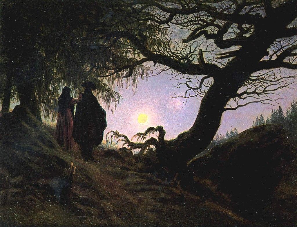 Caspar David Friedrich, Un uomo e una donna in contemplazione della luna, 1819, olio su tela, cm 34 X 44. Berlino, Alte Nationalgalerie