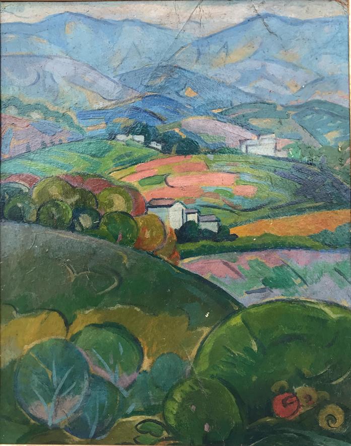 Gino Rossi, paesaggio asolano (colline), 191012olio su cartone pressato, cm 36x29 copia