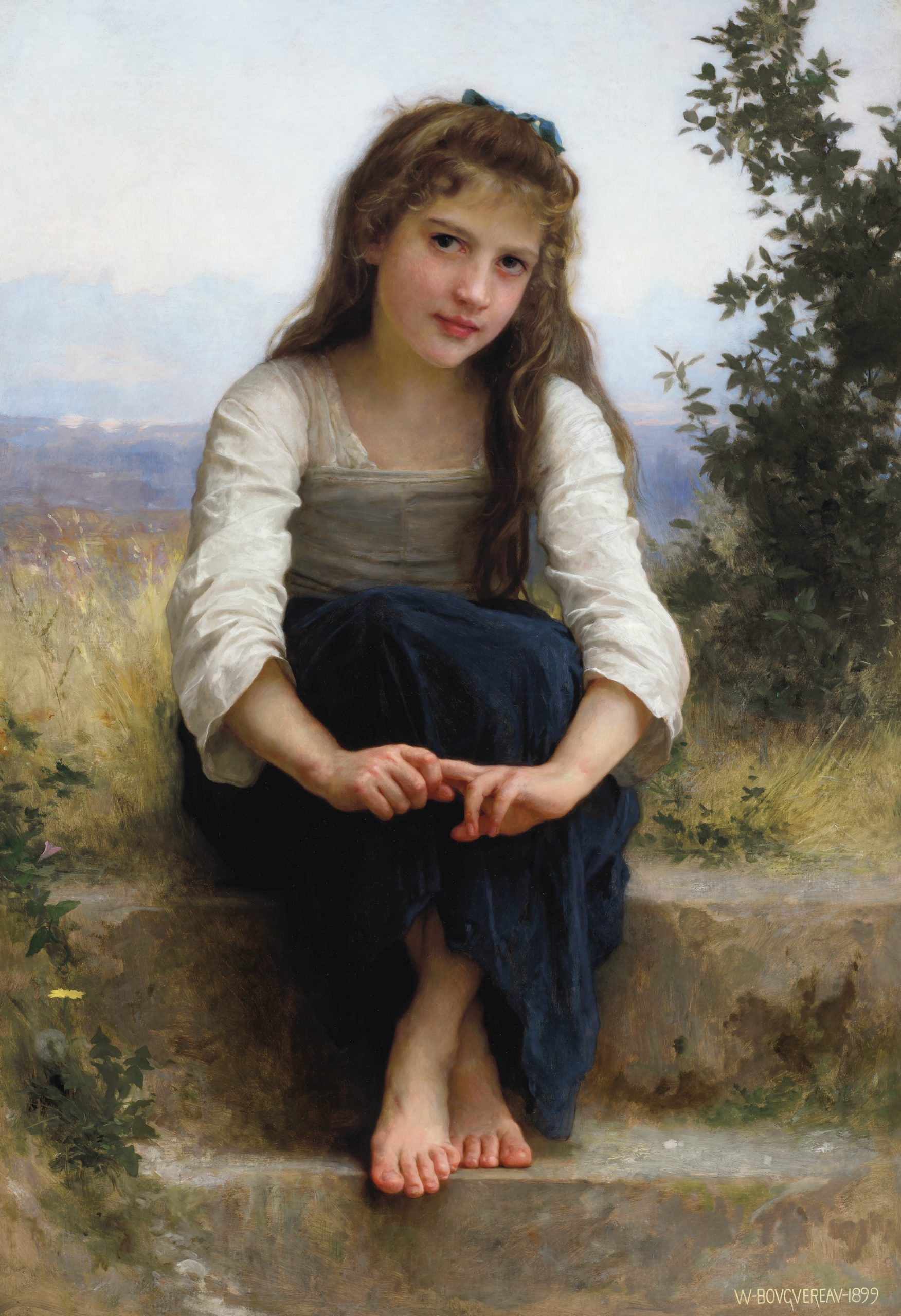William Adolphe Bouguereau (French, 1825-1905) Rêverie signed and dated 'W-BOVGVEREAV-1899' (lower right) oil on canvas 43 ¾ x 30 1:8 in. (111.1 x 76.5 cm.) - © CHRISTIE'S 2020