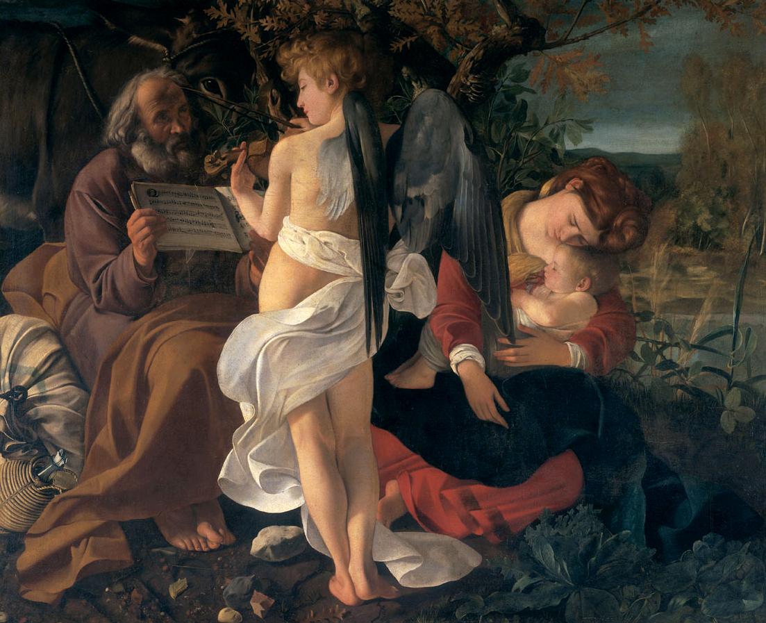Michelangelo Merisi da Caravaggio, Riposo durante la fuga in Egitto, 1597, Olio su tela, 166.5 x 135.5 cm, Roma, Galleria Doria Pamphilj