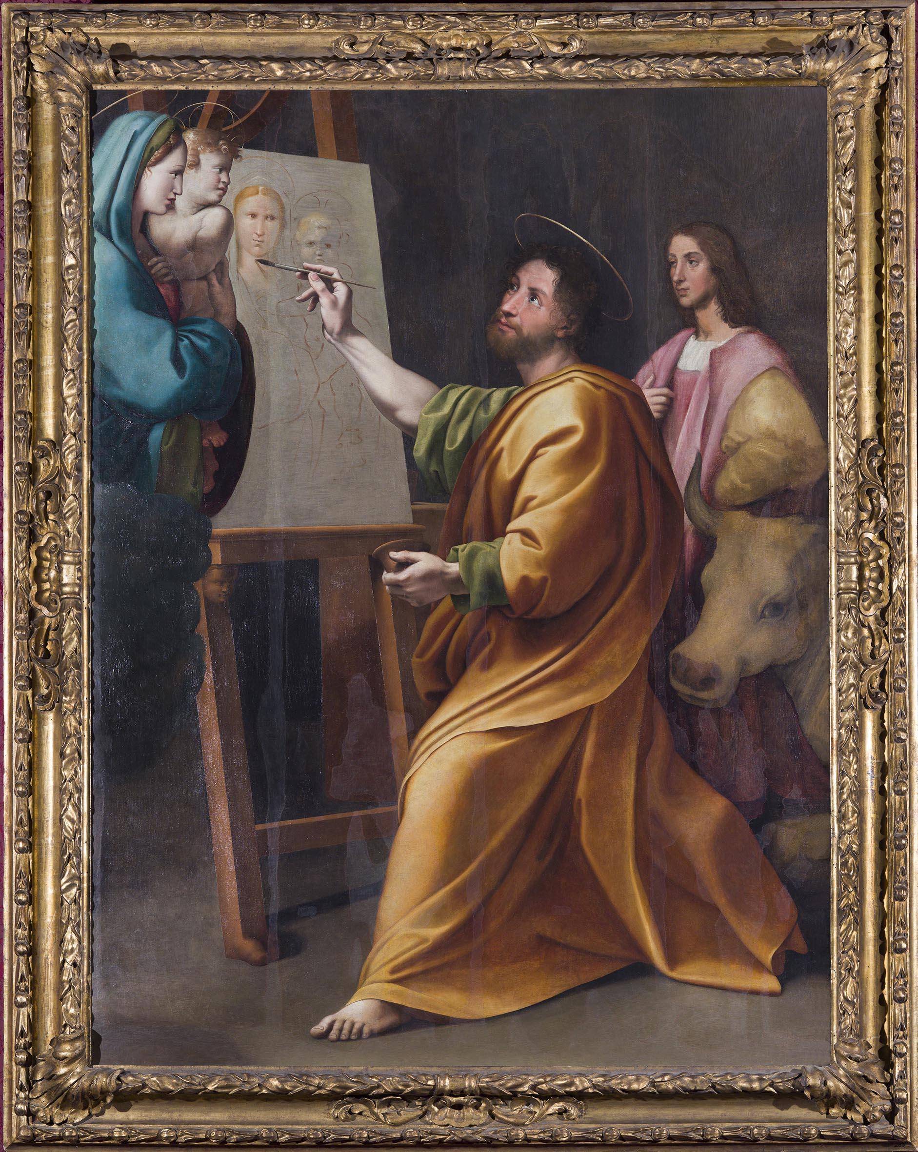 Raffaello (tradizionalmente attribuito) San Luca dipinge la Vergine, XVI secolo olio su tavola trasportato su tela Roma Accademia Nazionale di San Luca