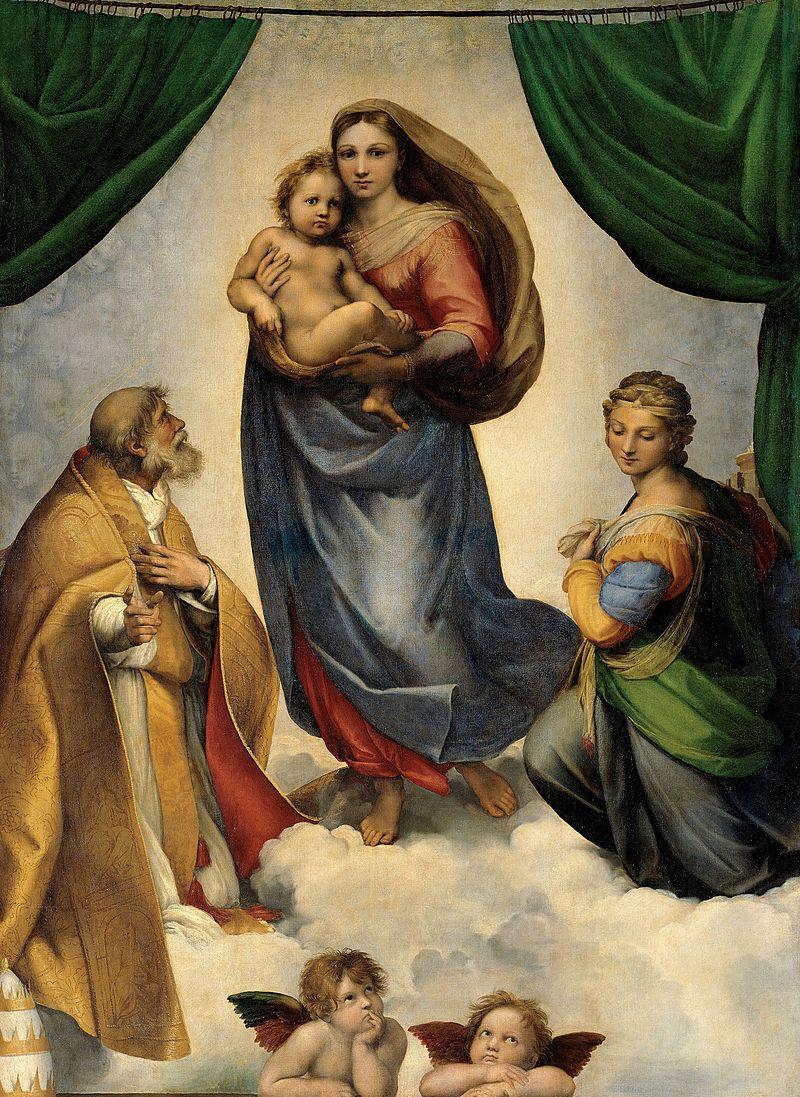 Raffaello Sanzio, Madonna Sistina, 1513-1514 circa, Olio su tela, 196 x 265 cm, Dresda, Gemäldegalerie