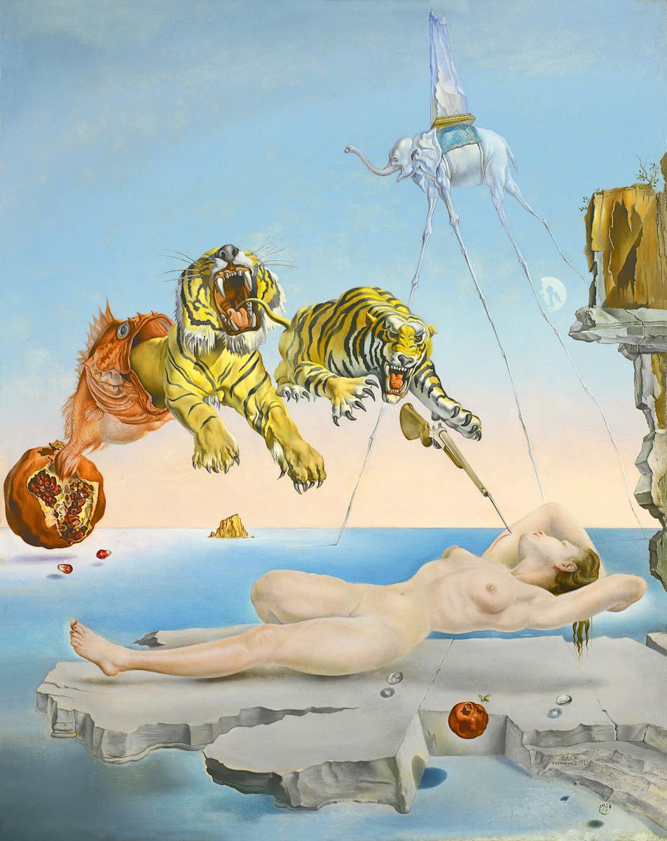 DALÍ, Salvador_Sueño causado por el vuelo de una abeja alrededor de una granada un segundo antes del despertar, 1944_510 (1974.46). ©Salvador Dalí, Fundación Gala-Salvador Dalí / VEGAP, Madrid