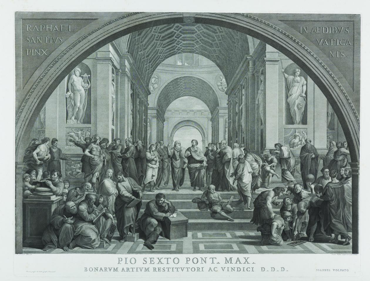 Giovanni Volpato La Scuola di Atene, ante 1863 acquaforte e bulino Roma Accademia Nazionale di San Luca