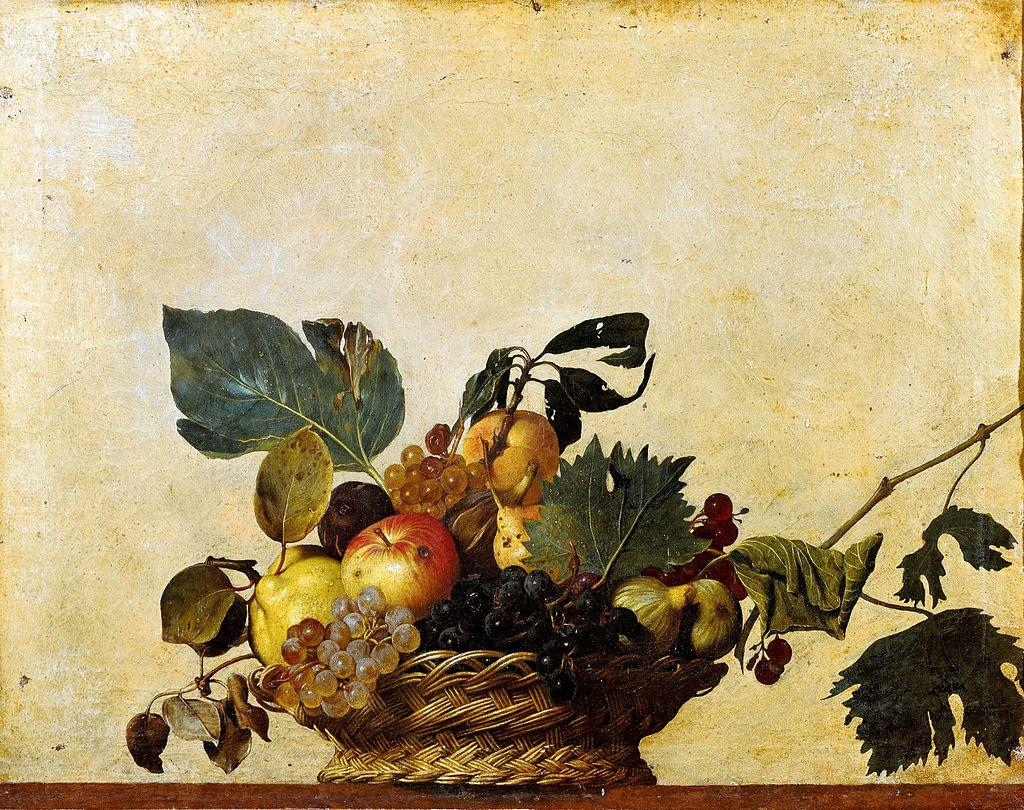 La Frutta nell'Arte: Caravaggio. Canestra di frutta. 1596 ca. Olio sui tela. cm.46X64. Milano, Pinacoteca Ambrosiana.