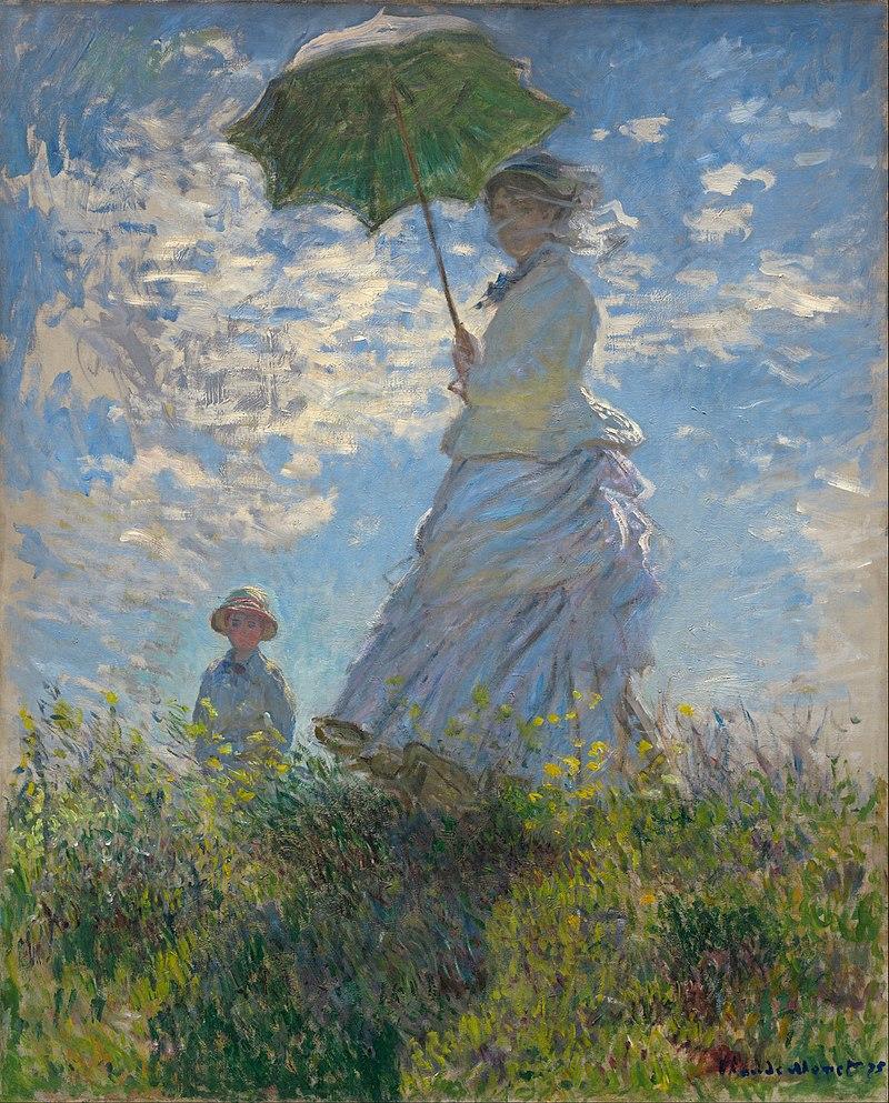 Claude Monet, Donna con il parasole, madame Monet con il figlio (1875); olio su tela, 100×81 cm, National Gallery of Art, Washington D.C.