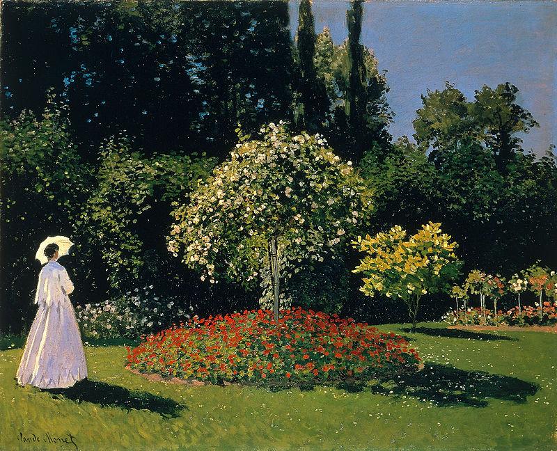 Claude Monet, Signora in giardino a Sainte-Adresse (1867); olio su tela, 82,3× 101,5 cm, museo dell'Ermitage, San Pietroburgo