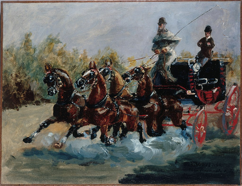 Henri de Toulouse-Lautrec, Alphonse de Toulouse-Lautrec alla carrozza (1881); olio su tela, 38.5×51 cm, Petit Palais, Parigi