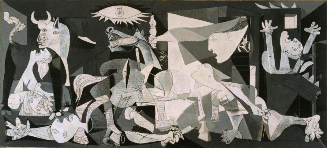 dipinti di grandi dimensioni : Pablo Picasso, Guernica, maggio – giugno 1937, olio su tela, cm 351 x 782. Madrid, Museo Nacional Centro de Arte Reina Sofía
