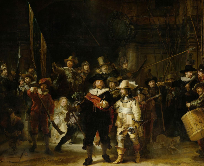 dipinti di grandi dimensioni: Rembrandt van Rijn, Ronda di notte, 1642, olio su tela, cm 359 X 438. Amsterdam, Rijksmuseum