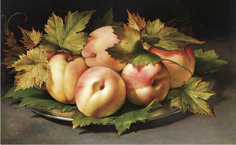 Ambrogio Figino, Piatto metallico con pesche e foglie di vite, Olio su tavola, 21 x 29, 4 cm, Collezione privata