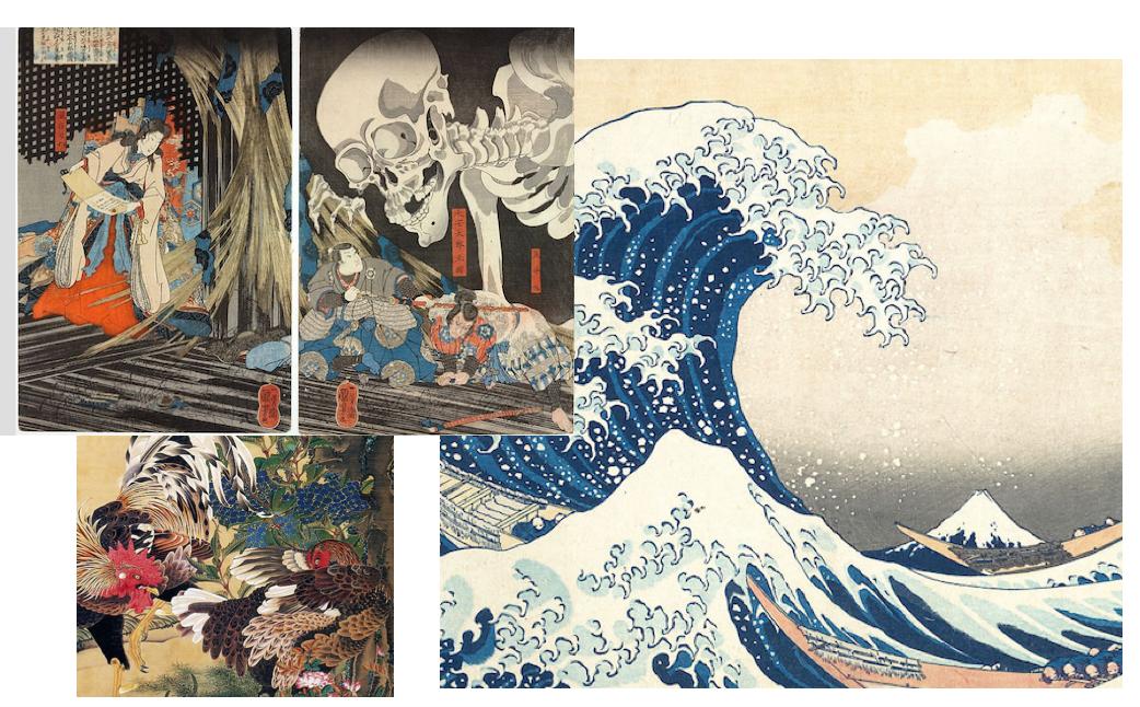dipinti giapponesi famosi, tra natura e leggenda,