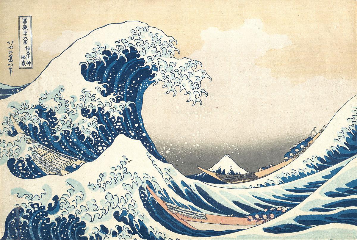 Katsushika Hokusai, Under the Wave off Kanagawa (Kanagawa oki nami ura), also known as The Great Wave, from the series Thirty-six Views of Mount Fuji (Fugaku sanjūrokkei) ca. 1830–32
