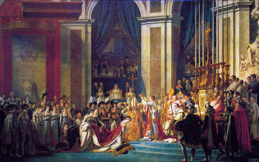 dipinti di grandi dimensioni: Jacques-Louis David, Incoronazione di Napoleone, 1806 – 1807, olio su tela, 621 x 979 cm. Parigi, Musée du Louvre