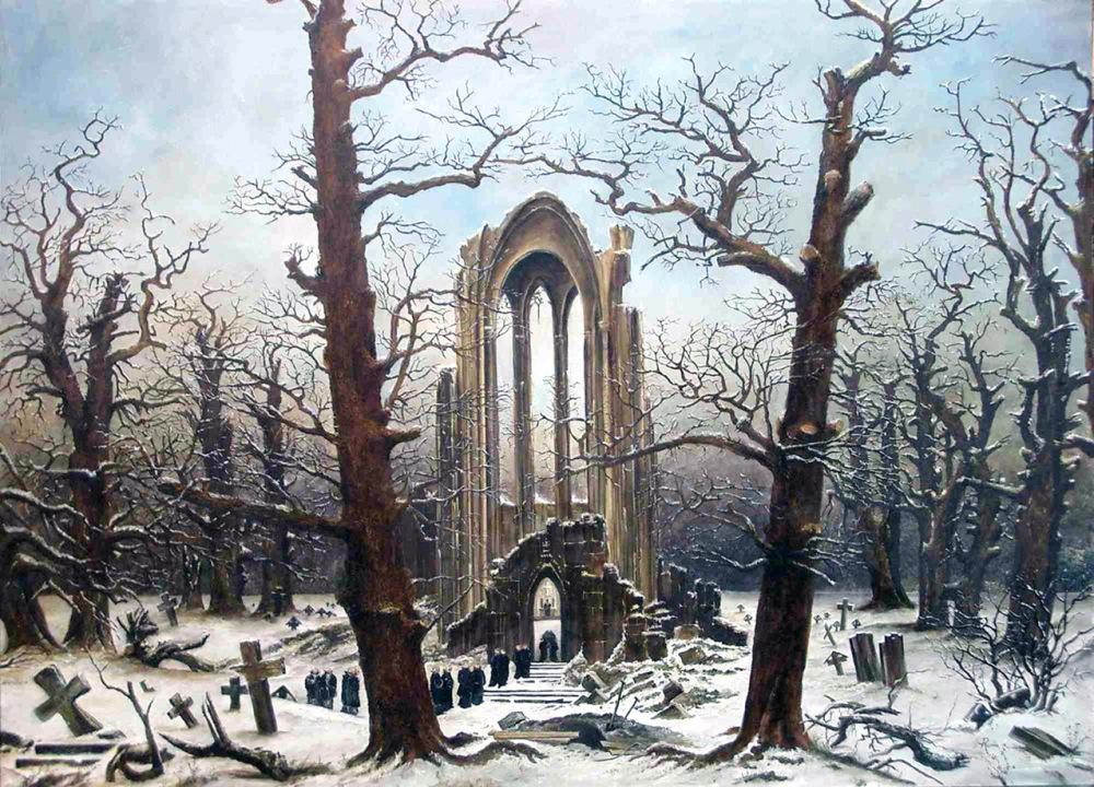 Caspar David Friedrich,Cimitero del monastero nella neve, 1816/ 19, olio su tela, Formerly of Nationalgalerie, Berlino