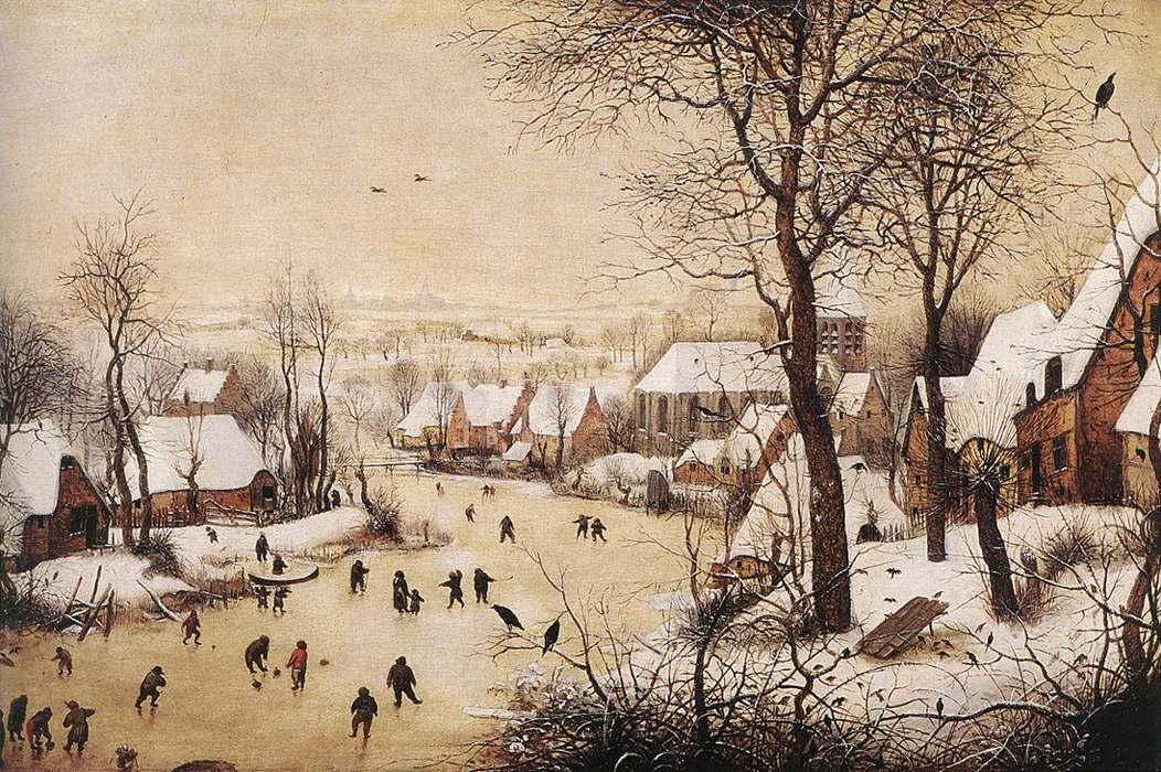 inverno nell'arte: Il Paesaggio invernale con pattinatori e trappola per uccelli, olio su tavola (38x56 cm) di Pieter Bruegel il Vecchio, datato 1566 e conservato nel Museo reale delle belle arti del Belgio di Bruxelles