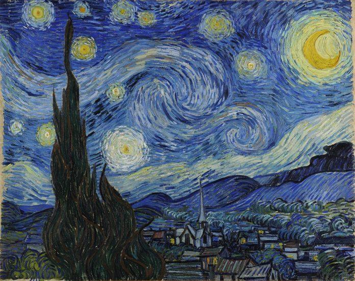 Vincent van Gogh, Notte stellata, 1889, olio su tela, cm 73,7 x 92. New York, Museum of Modern Art (MoMa)