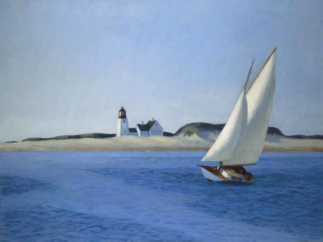 The Long Leg - Edward Hopper - 1935, olio su tela dimensioni 50 x 76 cm. Huntington Art Gallery, San Marino (California)