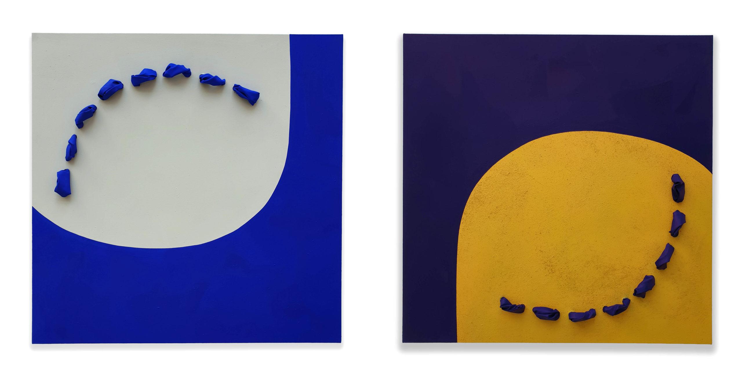 Flowing Giottesco, pigmento acrilico su tela tesa su tavola, 120 x 120 x 11 cm (ciascuno), 2019 – Courtesy Bislacchi Studio