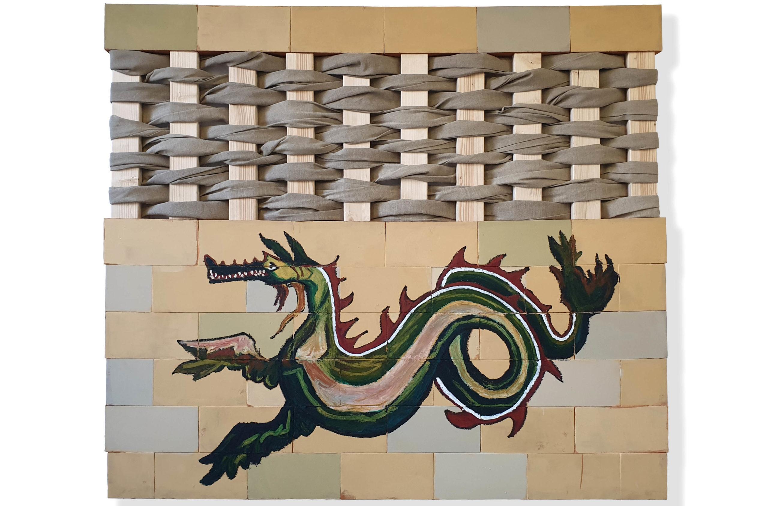Kaulon, pigmento acrilico, oil bar su tela tesa su tavola con travi in legno e tela di lino, 162 x 185 x 5 cm, 2020 – Courtesy Bislacchi Studio