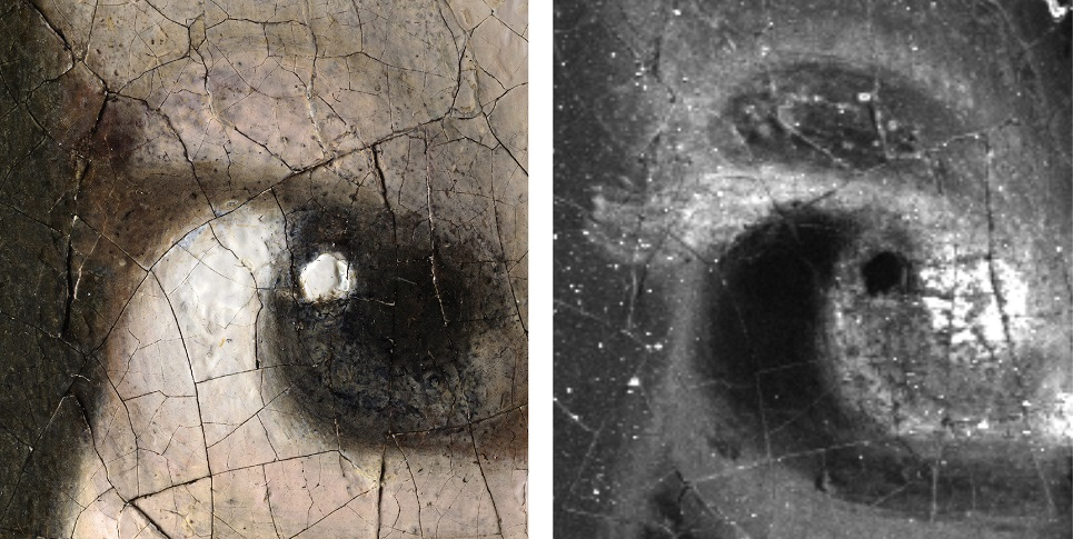 Left: 3D digital microphotograph of the Girl's right eye: 140x magnification (1.1 μm/pixel) [Hirox Europe, Jyfel]. Right: The macro-X-ray fluorescence (MA-XRF) map for iron (Fe) shows that Vermeer painted eyelashes using a brown paint. The tip of the eyelash is barely visible against the discoloured dark background. [Annelies van Loon: Mauritshuis/Rijksmuseum]