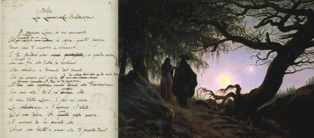 Poesie e opere d'arte - manoscritto Alla Luna di Leopardi e particolare del dipinto Caspar David Friedrich, Un uomo e una donna in contemplazione della luna