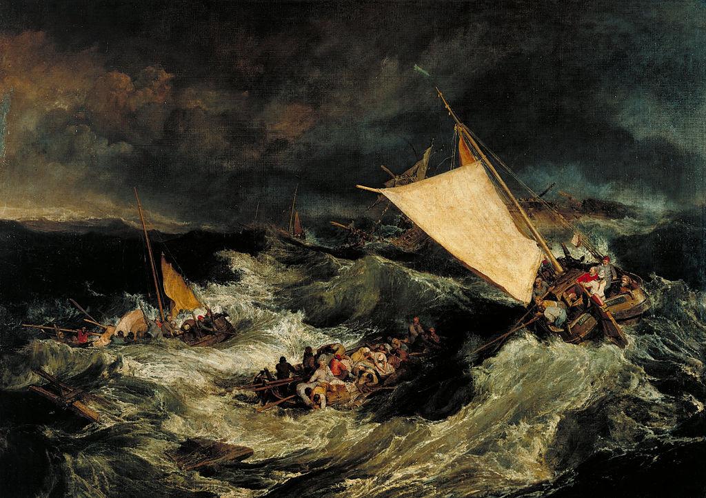 William Turner, Il naufragio. Barche da pesca che tentano di salvare l'equipaggio, olio su tela (170,5×241,4 cm), 1805, conservato al Tate Britain di Londra.
