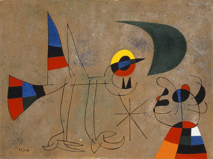 Joan Miró, Le Chant de l'oiseau à la rosée de la lune, 1955, olio su cartone. Foto Joan Ramon Bonet. Archivo Successió Miró. © Successió Miró : ADAGP, Paris, by SIAE 2021