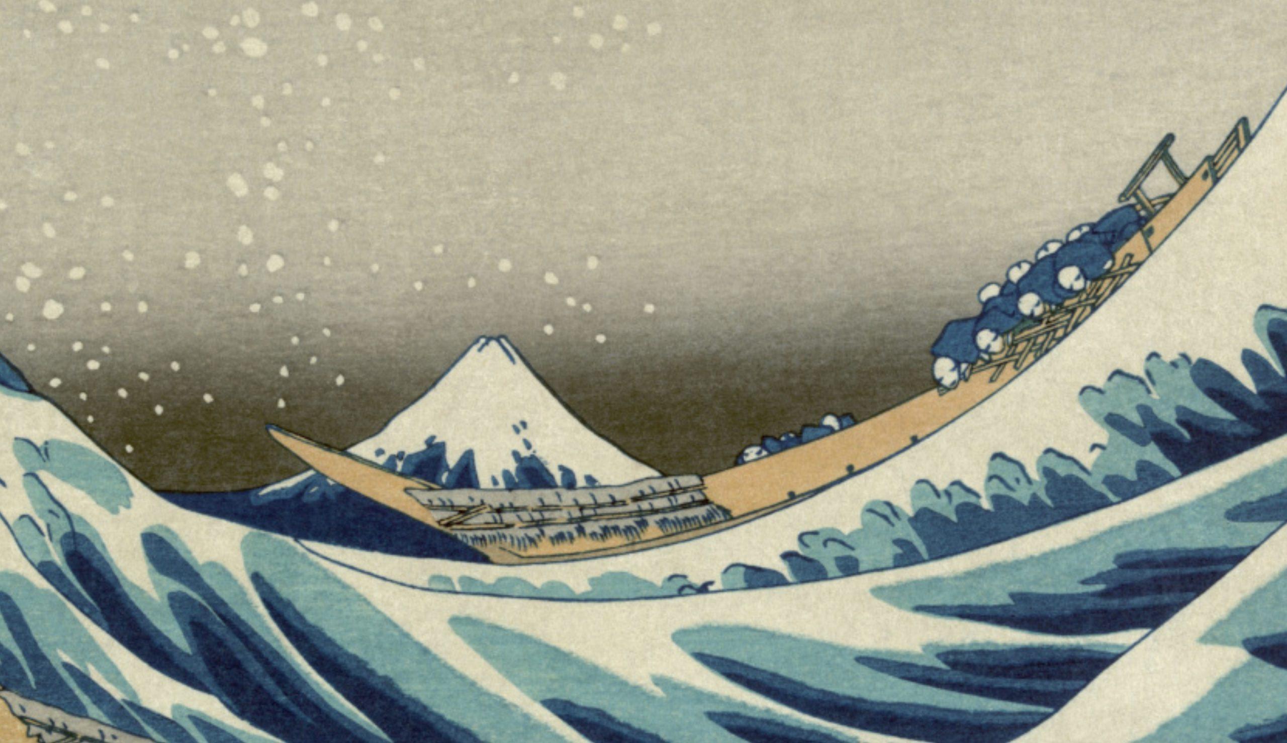 Hokusai, La grande onda di Kanagawa, 1830-1831 circa, xilografia, 25,7 x 37,9 cm. Museo di Hakone- dettaglio